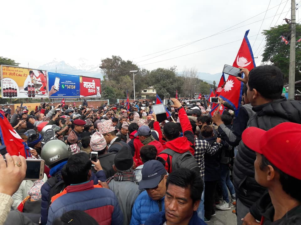 King Gyanendra welcome by public at Pokhara